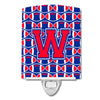 Letter W Football Harvard Crimson and Yale Blue Ceramic Night Light CJ1076-WCNL by Caroline's Treasures