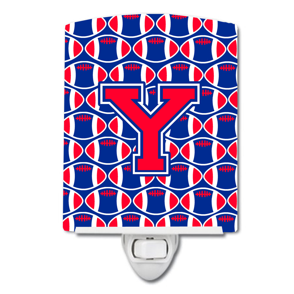 Buy this Letter Y Football Harvard Crimson and Yale Blue Ceramic Night Light CJ1076-YCNL