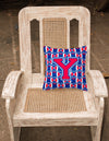 Letter Y Football Harvard Crimson and Yale Blue Fabric Decorative Pillow CJ1076-YPW1414 by Caroline's Treasures