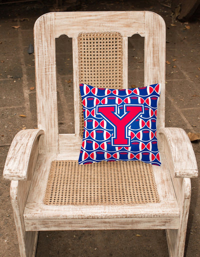 Letter Y Football Harvard Crimson and Yale Blue Fabric Decorative Pillow CJ1076-YPW1414