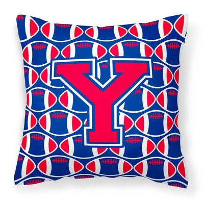 Buy this Letter Y Football Harvard Crimson and Yale Blue Fabric Decorative Pillow CJ1076-YPW1414