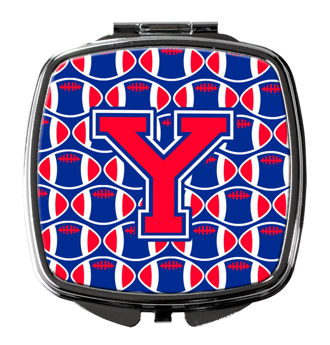 Letter Y Football Harvard Crimson and Yale Blue Compact Mirror CJ1076-YSCM by Caroline's Treasures