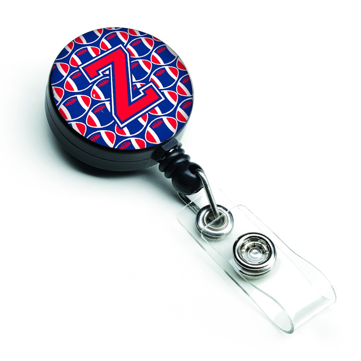 Letter Z Football Harvard Crimson and Yale Blue Retractable Badge Reel CJ1076-ZBR by Caroline's Treasures