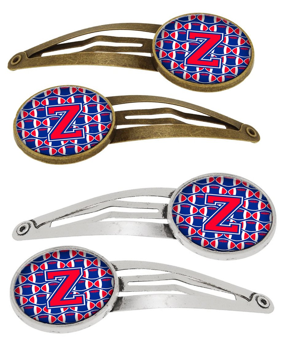 Letter Z Football Harvard Crimson and Yale Blue Set of 4 Barrettes Hair Clips by Caroline's Treasures