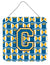 Letter C Football Blue and Gold Wall or Door Hanging Prints CJ1077-CDS66 by Caroline's Treasures