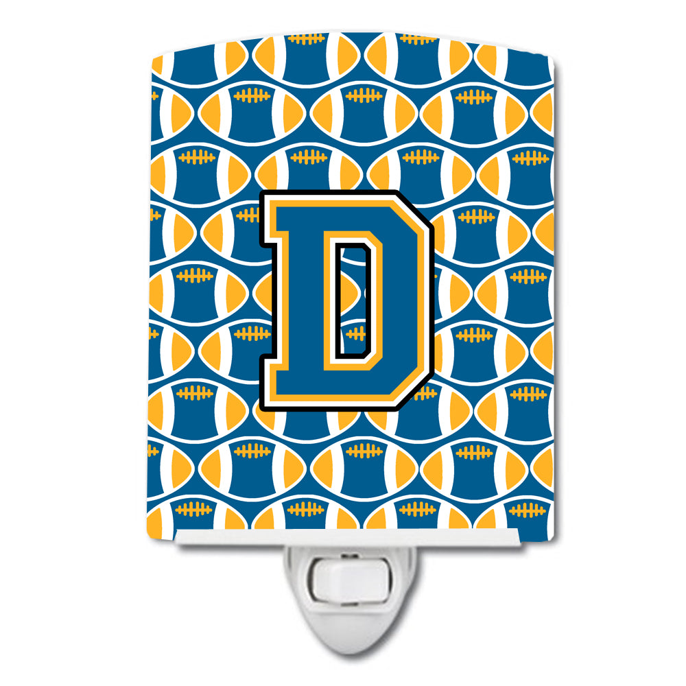 Letter D Football Blue and Gold Ceramic Night Light CJ1077-DCNL by Caroline's Treasures