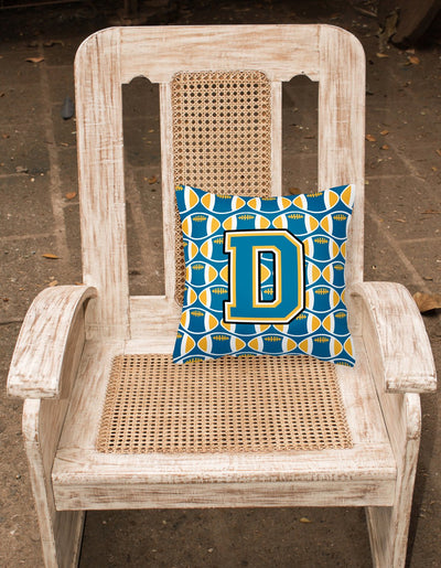 Letter D Football Blue and Gold Fabric Decorative Pillow CJ1077-DPW1414