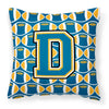 Letter D Football Blue and Gold Fabric Decorative Pillow CJ1077-DPW1414 by Caroline's Treasures