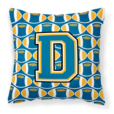 Buy this Letter D Football Blue and Gold Fabric Decorative Pillow CJ1077-DPW1414
