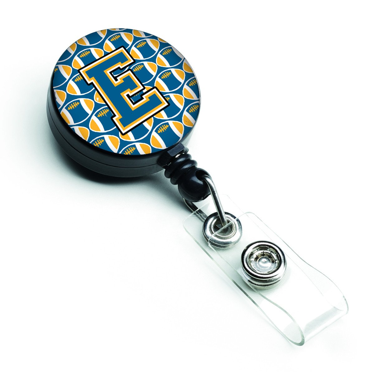 Letter E Football Blue and Gold Retractable Badge Reel CJ1077-EBR by Caroline's Treasures