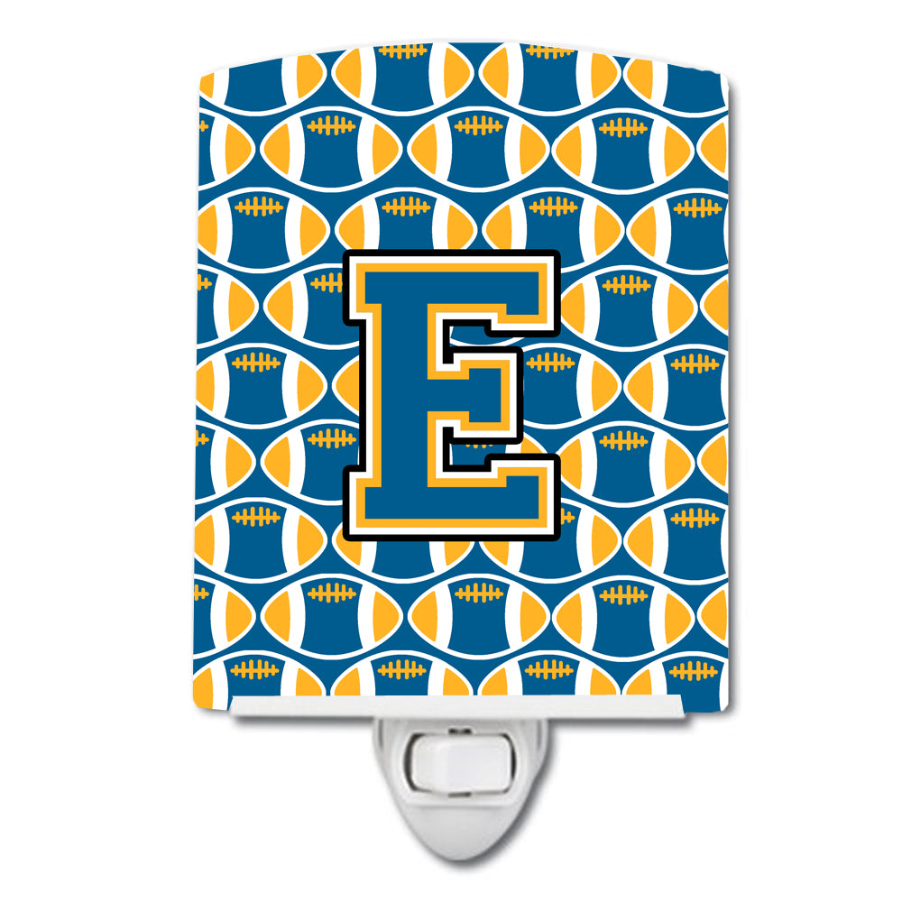 Buy this Letter E Football Blue and Gold Ceramic Night Light CJ1077-ECNL