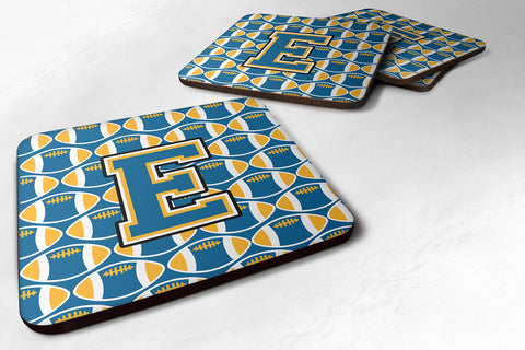 Buy this Letter E Football Blue and Gold Foam Coaster Set of 4 CJ1077-EFC