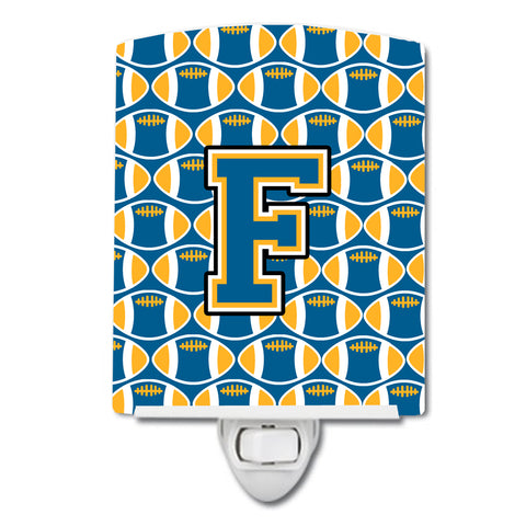 Buy this Letter F Football Blue and Gold Ceramic Night Light CJ1077-FCNL