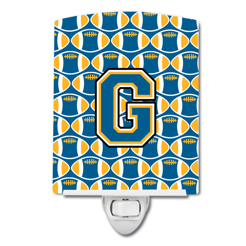 Buy this Letter G Football Blue and Gold Ceramic Night Light CJ1077-GCNL
