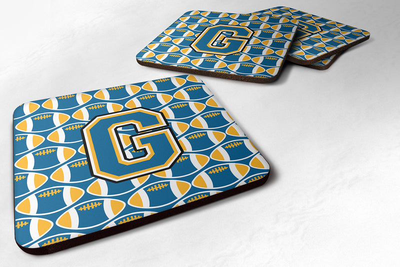 Buy this Set of 4 Letter G Football Blue and Gold Foam Coasters Set of 4 CJ1077-GFC