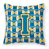 Letter I Football Blue and Gold Fabric Decorative Pillow CJ1077-IPW1414 by Caroline's Treasures