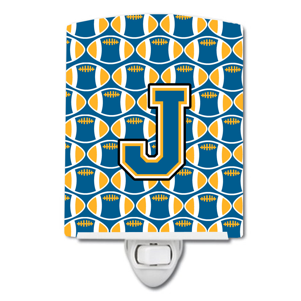 Letter J Football Blue and Gold Ceramic Night Light CJ1077-JCNL by Caroline's Treasures