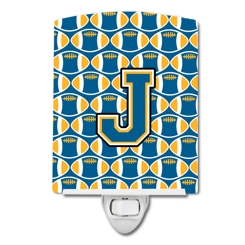 Buy this Letter J Football Blue and Gold Ceramic Night Light CJ1077-JCNL