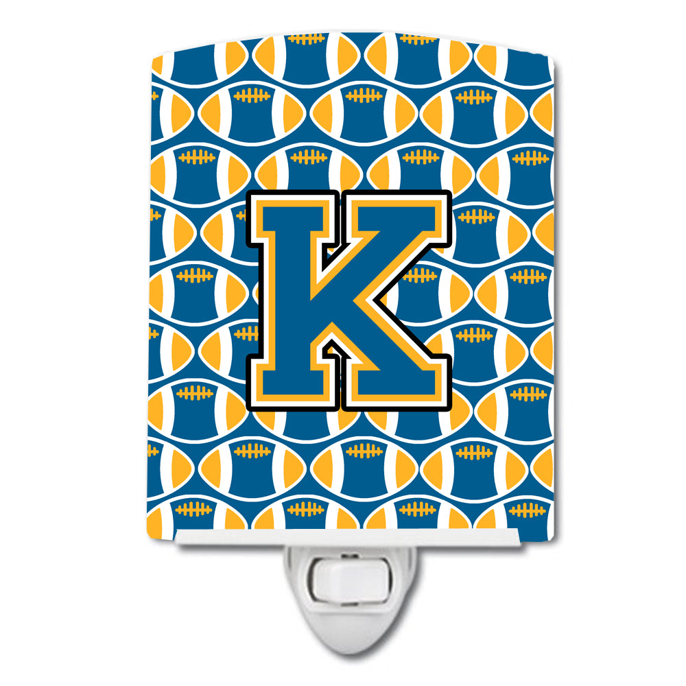 Buy this Letter K Football Blue and Gold Ceramic Night Light CJ1077-KCNL