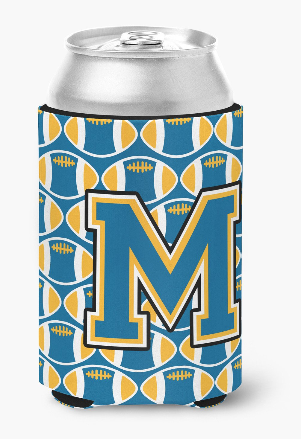 Letter M Football Blue and Gold Can or Bottle Hugger CJ1077-MCC by Caroline's Treasures