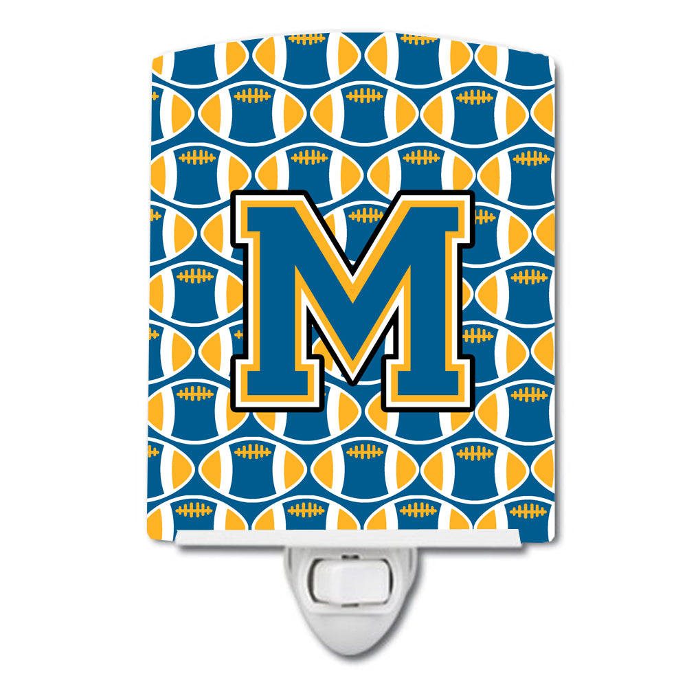Letter M Football Blue and Gold Ceramic Night Light CJ1077-MCNL by Caroline's Treasures