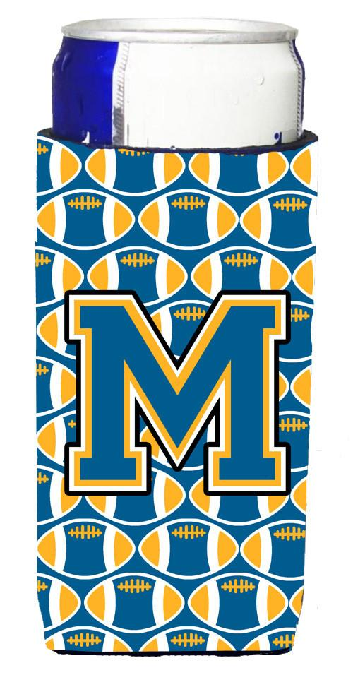 Letter M Football Blue and Gold Ultra Beverage Insulators for slim cans CJ1077-MMUK by Caroline's Treasures