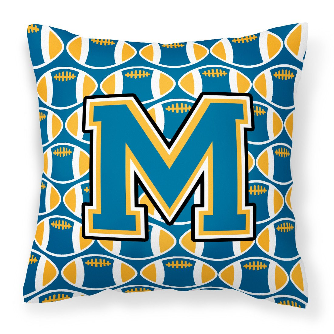 Letter M Football Blue and Gold Fabric Decorative Pillow CJ1077-MPW1414 by Caroline's Treasures