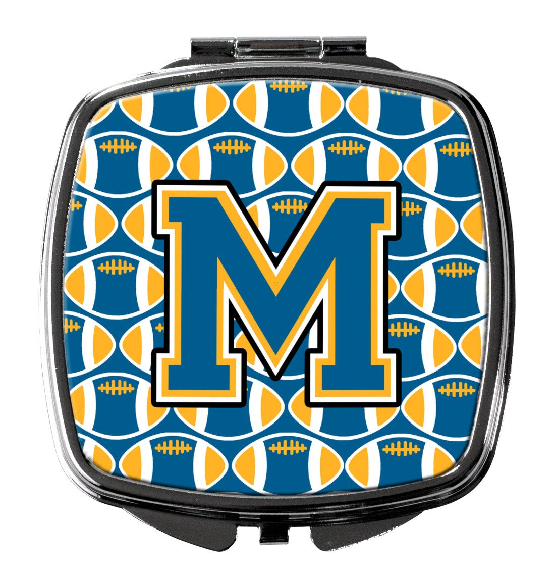Letter M Football Blue and Gold Compact Mirror CJ1077-MSCM by Caroline's Treasures