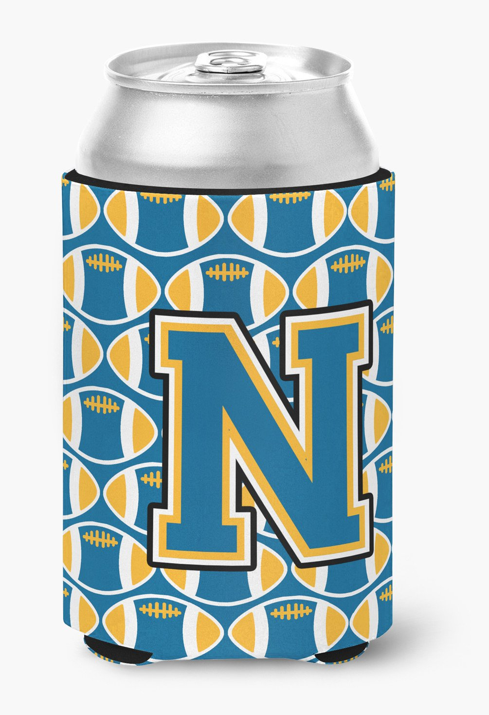 Letter N Football Blue and Gold Can or Bottle Hugger CJ1077-NCC by Caroline's Treasures