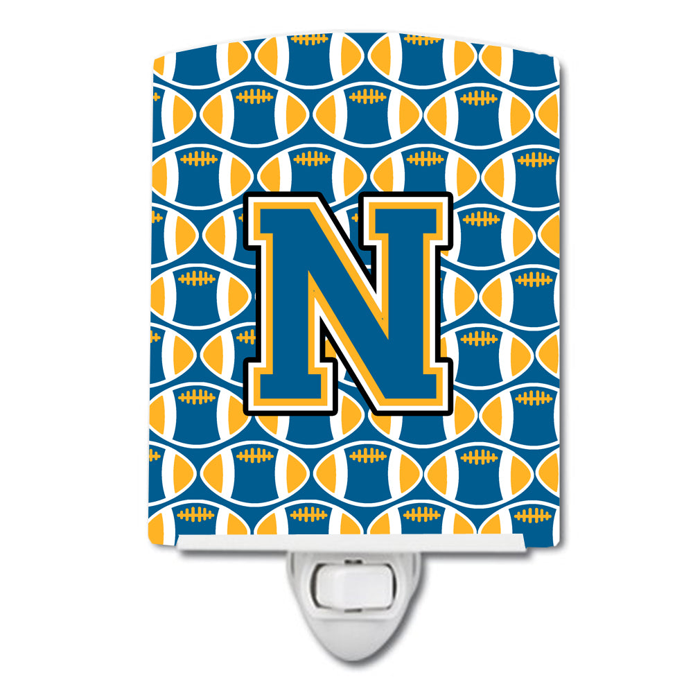 Buy this Letter N Football Blue and Gold Ceramic Night Light CJ1077-NCNL