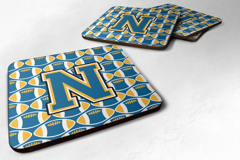 Buy this Letter N Football Blue and Gold Foam Coaster Set of 4 CJ1077-NFC