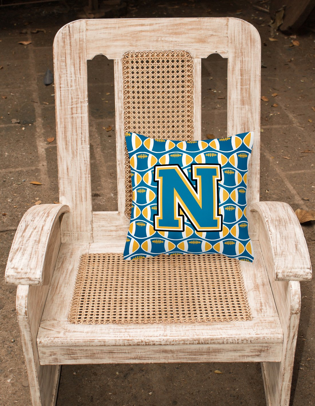 Letter N Football Blue and Gold Fabric Decorative Pillow CJ1077-NPW1414 by Caroline's Treasures