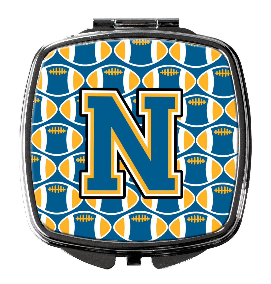 Letter N Football Blue and Gold Compact Mirror CJ1077-NSCM by Caroline's Treasures