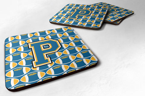 Buy this Letter P Football Blue and Gold Foam Coaster Set of 4 CJ1077-PFC