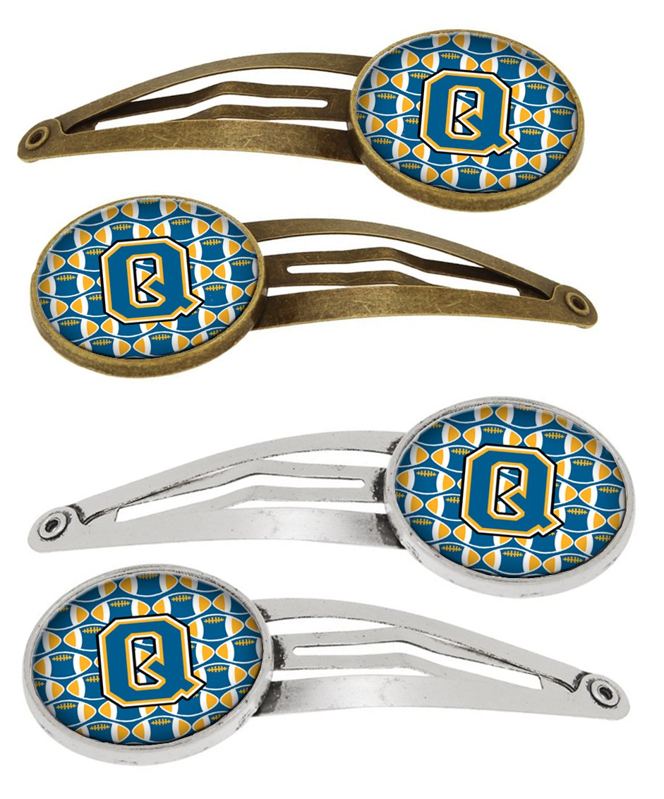 Buy this Letter Q Football Blue and Gold Set of 4 Barrettes Hair Clips CJ1077-QHCS4