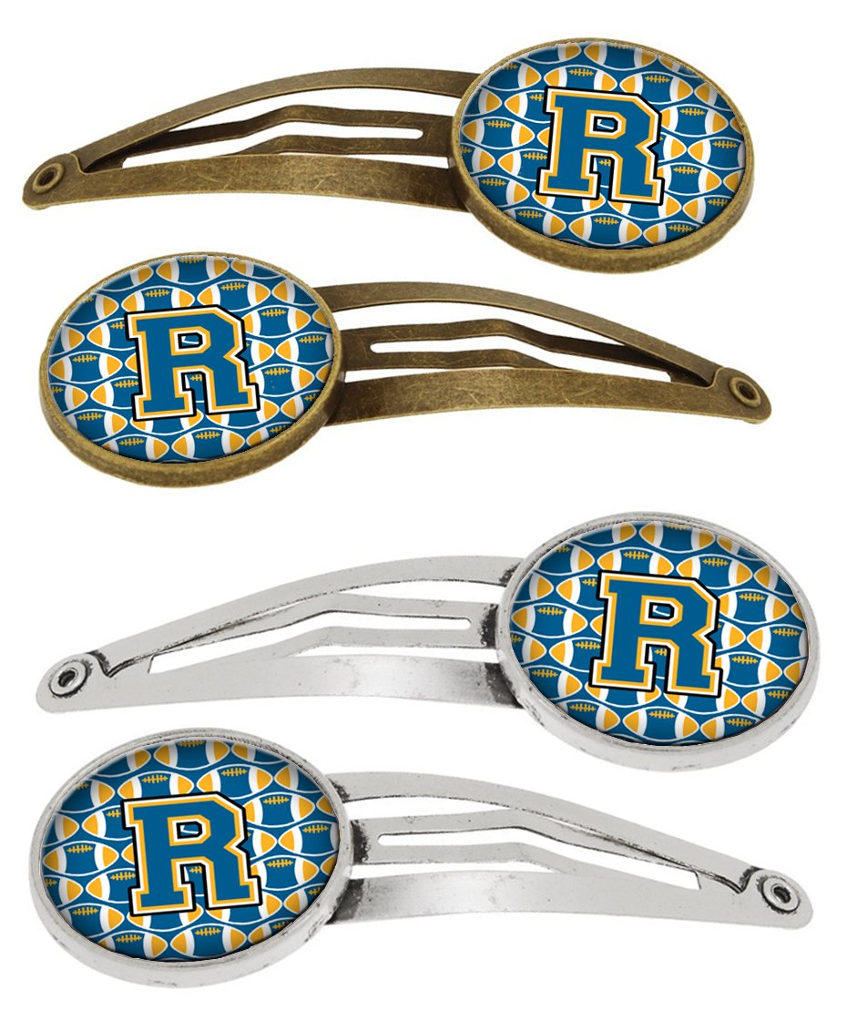 Buy this Letter R Football Blue and Gold Set of 4 Barrettes Hair Clips CJ1077-RHCS4