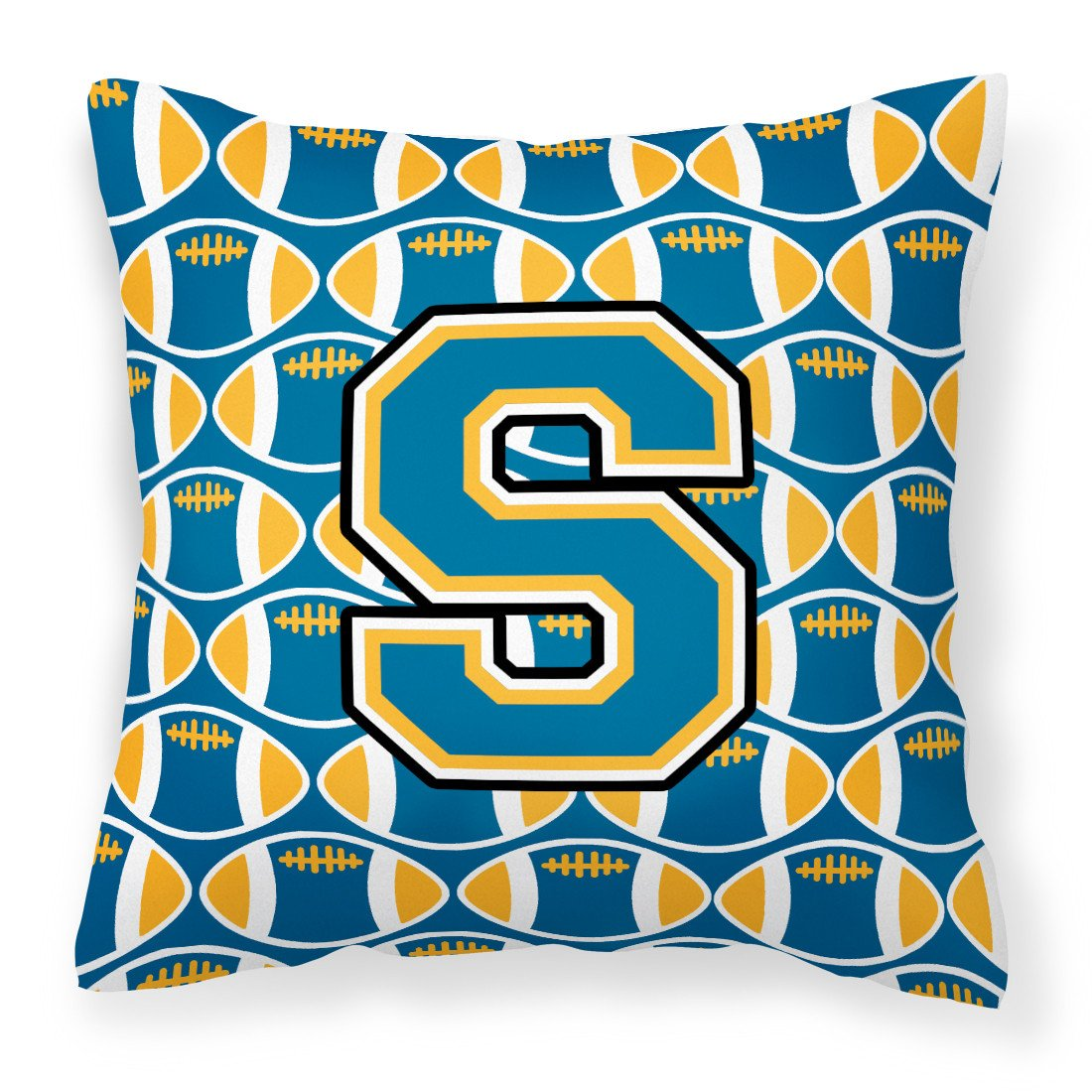 Buy this Letter S Football Blue and Gold Fabric Decorative Pillow CJ1077-SPW1414