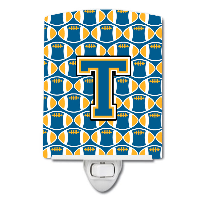 Buy this Letter T Football Blue and Gold Ceramic Night Light CJ1077-TCNL