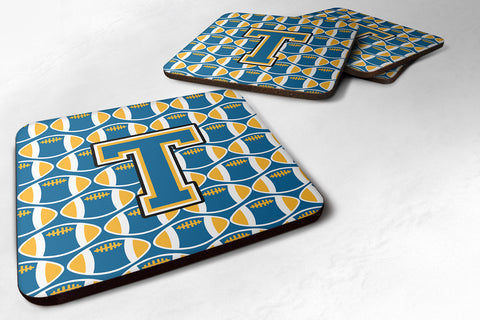 Buy this Letter T Football Blue and Gold Foam Coaster Set of 4 CJ1077-TFC