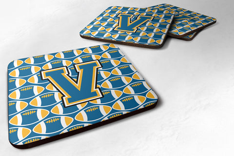 Buy this Letter V Football Blue and Gold Foam Coaster Set of 4 CJ1077-VFC