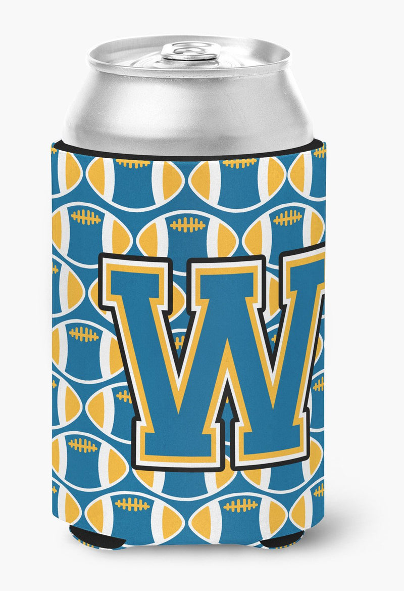Buy this Letter W Football Blue and Gold Can or Bottle Hugger CJ1077-WCC