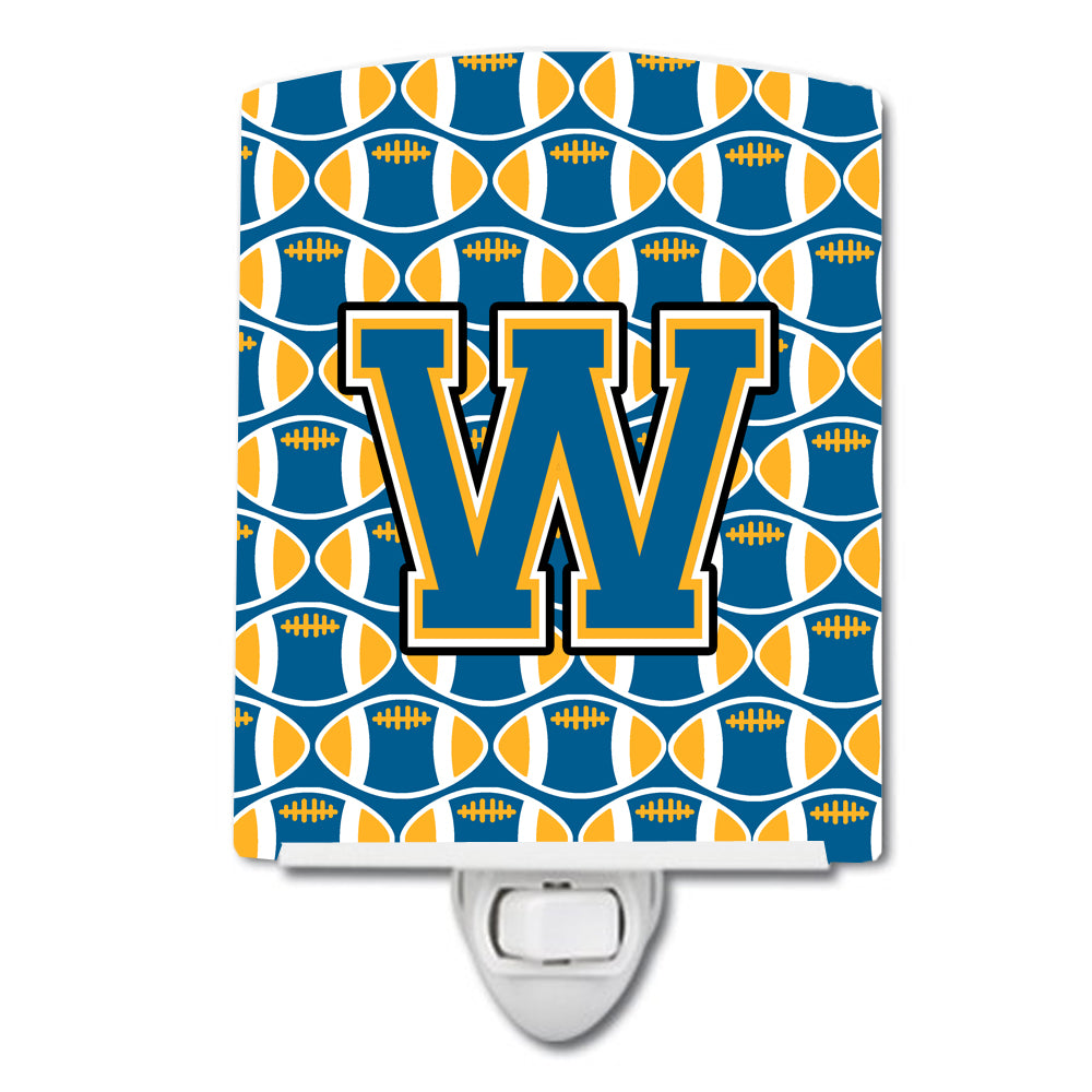 Letter W Football Blue and Gold Ceramic Night Light CJ1077-WCNL by Caroline's Treasures