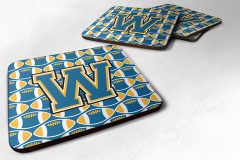 Buy this Letter W Football Blue and Gold Foam Coaster Set of 4 CJ1077-WFC