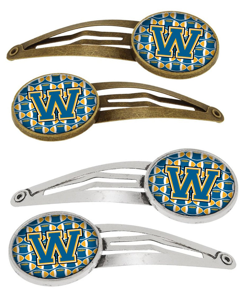 Buy this Letter W Football Blue and Gold Set of 4 Barrettes Hair Clips CJ1077-WHCS4