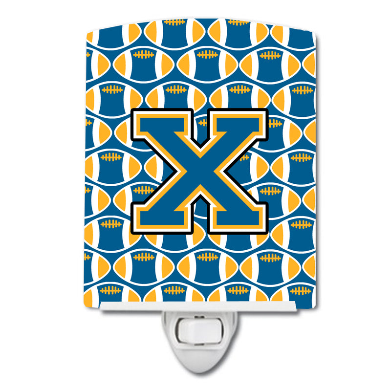 Buy this Letter X Football Blue and Gold Ceramic Night Light CJ1077-XCNL