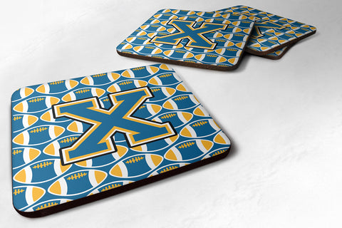 Buy this Letter X Football Blue and Gold Foam Coaster Set of 4 CJ1077-XFC