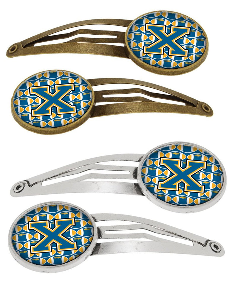 Buy this Letter X Football Blue and Gold Set of 4 Barrettes Hair Clips CJ1077-XHCS4
