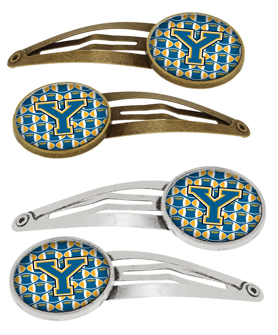 Letter Y Football Blue and Gold Set of 4 Barrettes Hair Clips by Caroline's Treasures