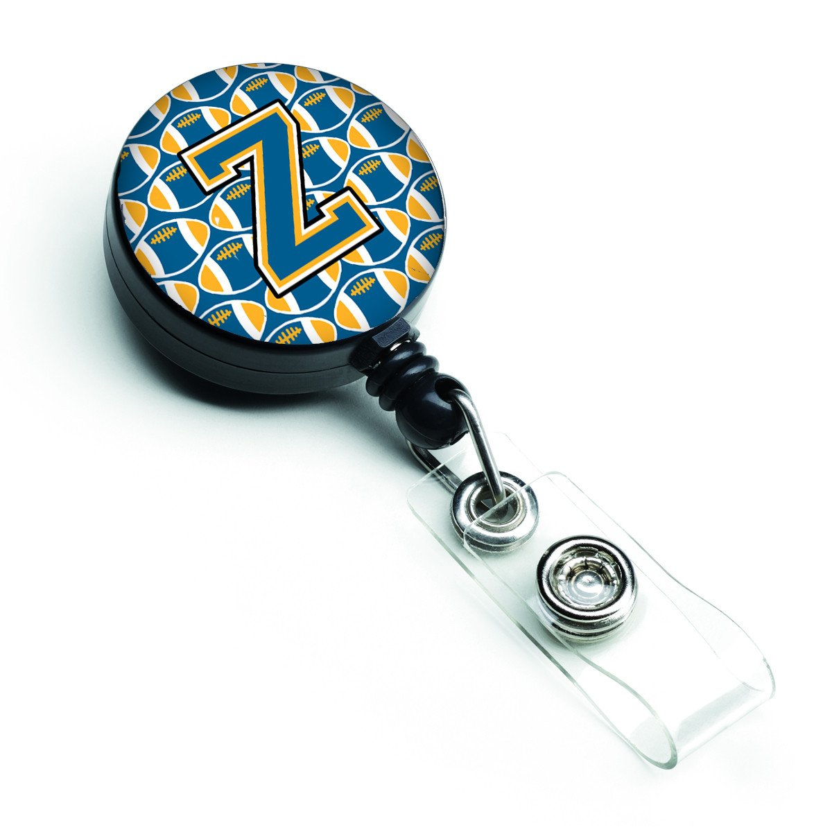 Letter Z Football Blue and Gold Retractable Badge Reel CJ1077-ZBR by Caroline's Treasures