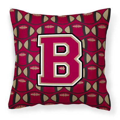 Buy this Letter B Football Garnet and Gold Fabric Decorative Pillow CJ1078-BPW1414